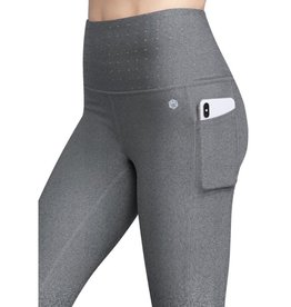 Get In Line Power Mesh Body Shaper Compression Leggings - Heather Charcoal