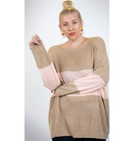 Can You Feel The Love Colorblock Boxy Oversized Top - Taupe