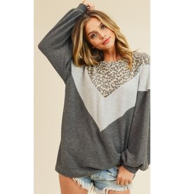 Wild About You Leopard Chevron Balloon Sleeve Top - Charcoal