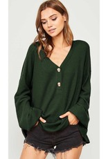 Here For Everyday Solid V-Neck Knit Top - Hunter Green