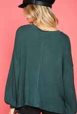 Do You Think Of Me Solid Waffle V-Neck Knit Top - Hunter Green