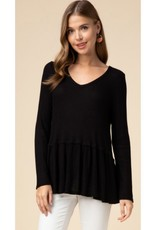 Better Than Before Waffle Knit V-Neck Smock Top - Black