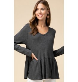 Better Than Before Waffle Knit V-Neck Smock Top - Charcoal