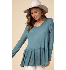 Better Than Before Waffle Knit V-Neck Smock Top - Teal