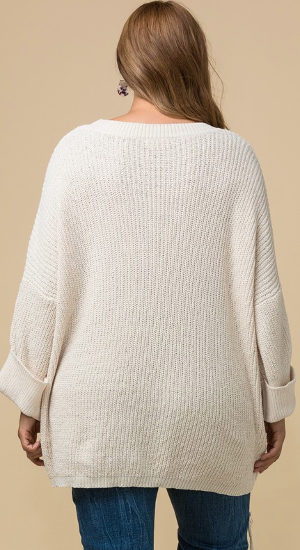 Conquer The Night Chenille Scoop Neck Sweater - Cream