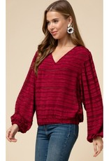 Nothing But The Best Textured V-Neck Balloon Sleeve Top - Burgundy