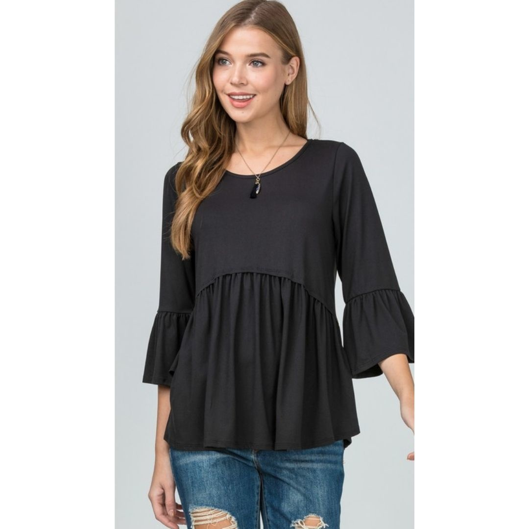 Take All My Love Scoop Neck Flounce Sleeve Top - Black