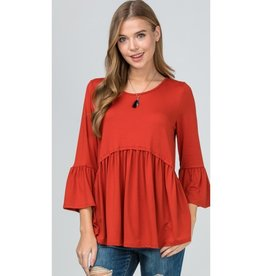 Take All My Love Scoop Neck Flounce Sleeve Top - Brick