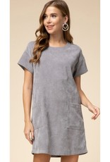 All In My Heart Corduroy A-Line Dress - Charcoal