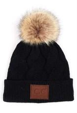 C.C Faux Fur Pom Cable Beanie - Black