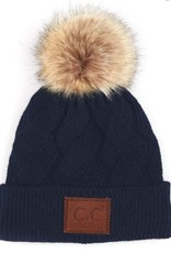 C.C Faux Fur Pom Cable Beanie - Navy