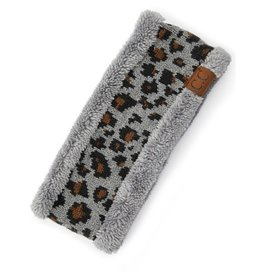 C.C Leopard Headwrap - Light Melange Grey