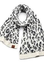 C.C Leopard Oblong Scarf - Ivory