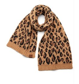 C.C Leopard Oblong Scarf - Latte