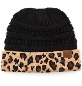 C.C Solid Leopard Ponytail Beanie - Black