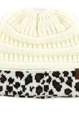 C.C Solid Leopard Ponytail Beanie - Ivory