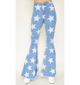Reach For My Dreams Star Printed Flare Jeans - Light Denim