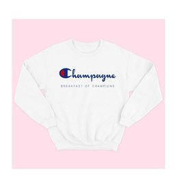 Champagne Breakfast Of Champions Graphic Sweatshirt - White