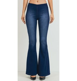 Listen To My Heart Mid Rise Wide Flare Jeans - Dark Wash