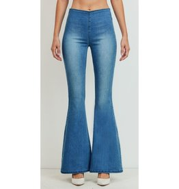 Listen To My Heart Mid Rise Wide Flare Jeans - Medium Wash