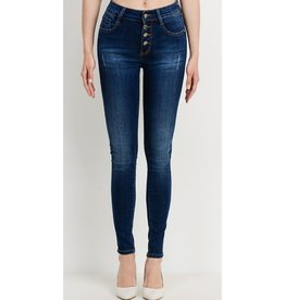 All Of Nothing Mid Rise Button Down Skinny Jeans - Dark Wash