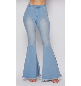 Just Because Of You High Waisted Bell Bottom Jeans - Blue