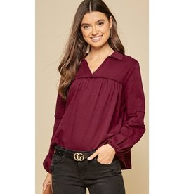 Make This Moment Last Knit Raw Edge Loose Top - Burgundy