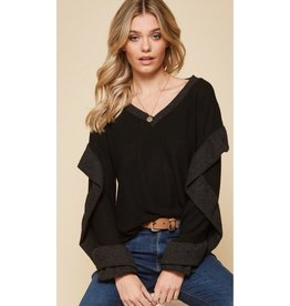All The Best Memories V-Neck Ruffle Detail Sleeve Top - Black