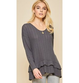Dancing In Your Arms Knit Ruffle Detail Top - Charcoal