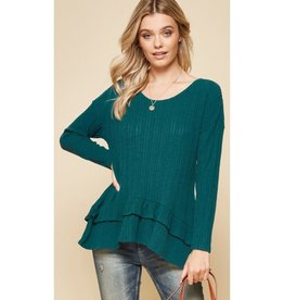 Dancing In Your Arms Knit Ruffle Detail Top - Teal