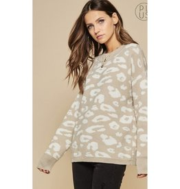 Sure To Fall In Love Leopard Sweater - Taupe