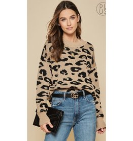 Have All The Answers Leopard Rib Cropped Sweater - Mocha