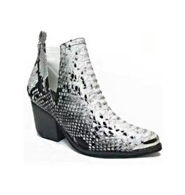 Closer To You Snake Multi Side Cut Booties - Snake Black/White
