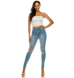 Just One Smile High Rise Destructed Skinny Jeans - Medium Blue
