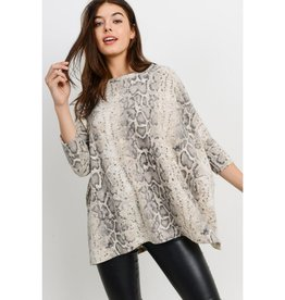 Love Of The Wild Brushed Snake Print Boxy Top - Taupe