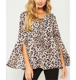 Arrive In Style Lace-Up Animal Print Blouse - Taupe/Black