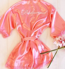 "Satin ""Bridesmaid"" Robe - Coral"