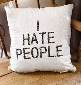 I HATE PEOPLE Cushion Cover- White/Gold