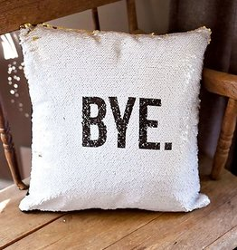 BYE.  Cushion Cover- White/Gold