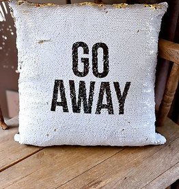 GO AWAY Cushion Cover- White/Gold