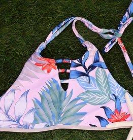 Island Hi-Neck Bikini Top- Lani Palm