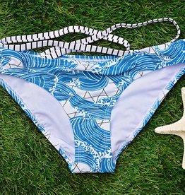 Ocean Waves Hipster Bikini Bottom- Blue