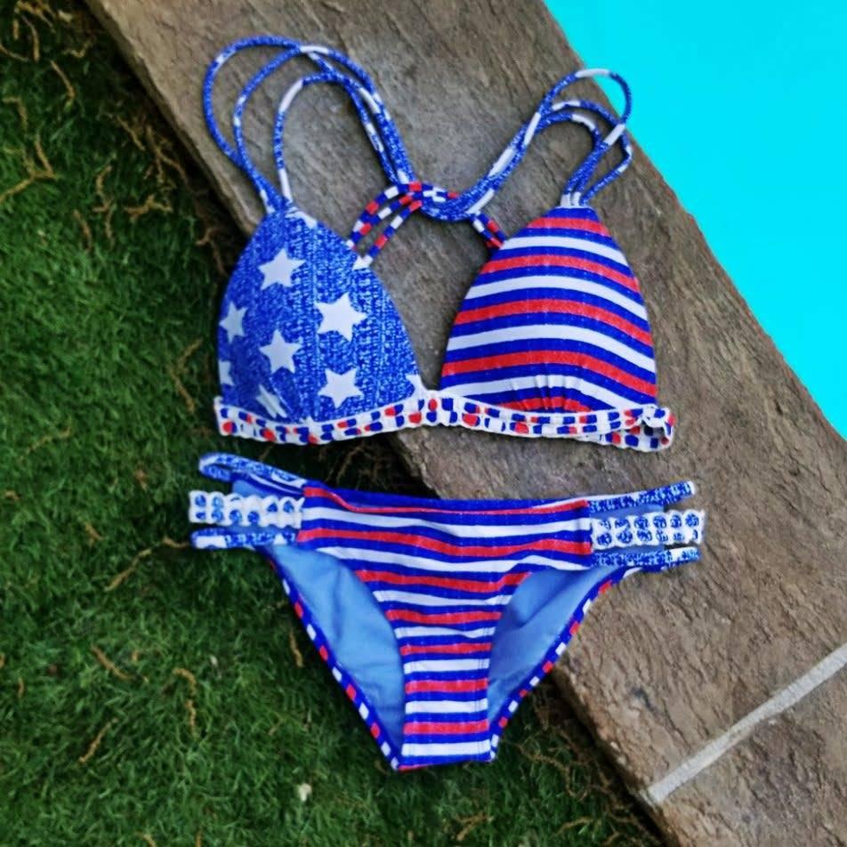 Americana Strappy Side Bottom- Blue