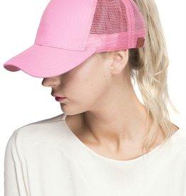 Mesh Ponytail Cap- Pink