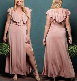 Classy And Fabulous Wrap Maxi Dress - Rose