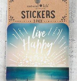 Live Happy Beach Stickers