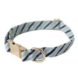 Dog Collar- Blue Diagonal Stripe Small