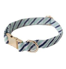 Dog Collar- Blue Diagonal Stripe Medium