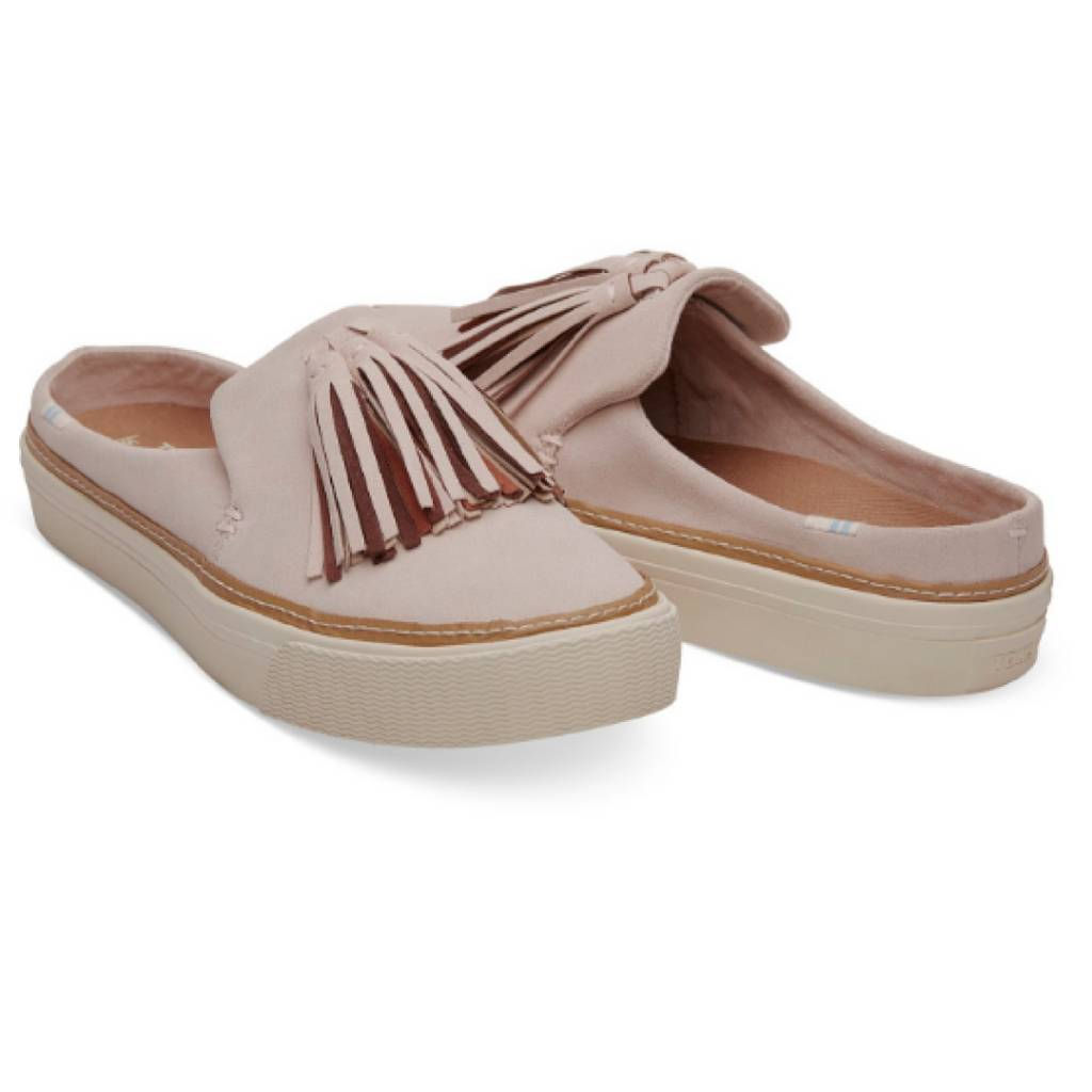8254062aaab Woman s Sunset Mule Slip-ons- Blush Suede Tassel - Cheeky Bliss