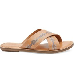 TOMS Embossed Women's Viv Sandals- Honey Leather